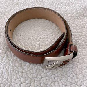 Tasso Elba Cognac Brown Leather Belt Mens Size 32